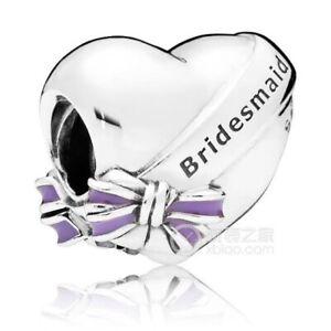Genuine Pandora Charm Silver Wedding Bridesmaid And Bow Heart 797272EN159
