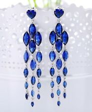 "Gift Boxed 3"" Long Silver Sapphire Blue Crystal Chandelier Drop Earrings UK"