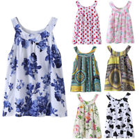 Kid Toddler Baby Girls Summer Floral Sleeveless Party Pageant Tutu Dress Clothes