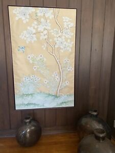 framed antique chinese pith rice paper painting