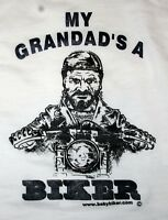 Kids Baby Children's Motorcycle Slogan T-Shirts - My Grandad's A Biker White T