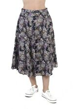 Vintage Flower Printed Women`s Skirt Casual Midi Length Multi Coloured - SK047