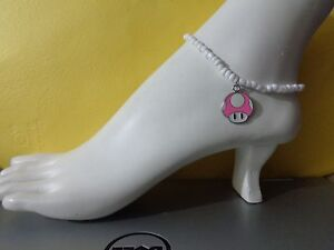 Pink MUSHROOM enamel charm ankle bracelet beads anklet  stretchy handmade mario