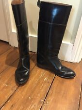 Ladies tall black leather riding boots - vintage
