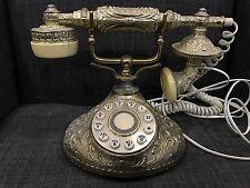 Retro Ornate Brass Rotary Dial Telephone Victorian Leaf Round Base