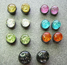 Pair Plugs Tunnels 00g 10mm ML8 Single Flare Black Clear Pinkish PURPLE Glitter