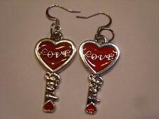 Ohrring Edelstahl Fassung rotes Herz mit Girl Eingraviert im Bart aus Email 4357