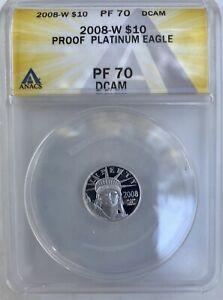 2008-W $10 Platinum Eagle PR70 UC by ANACS! Low Mintage Key-Date