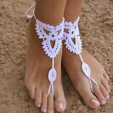 White Barefoot Sandals Crochet Foot Jewelry Anklet Bracelet Wedding Ankle Decor