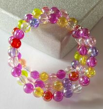 New Handmade Multi Coloured Acrylic Round Iridescent Beaded Memory Wire Bracelet