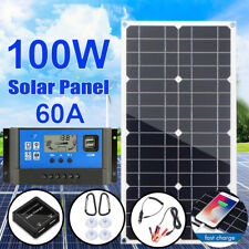 100W Watt Solar Panel Kit Dual USB Battery Charge+60A Controller For RV Camping