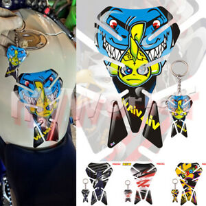 Fit For YZF R1 R6 MT09 TMAX NMAX SMAX Tank Pad Protector Sticker Decal+Key Chain