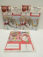 Peck Jumbo 6x6x10 Christmas Gift Boxes Lot 6 Church Sleigh Ride Santa Stockings