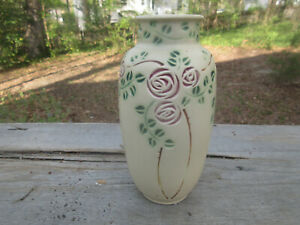 "Roseville Velmoss Scroll 199-8"" Vase White/Beige Unmarked Original"