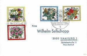 GERMANY DEUTSCHE BUNDESPOST BERLIN 1974 FLOWERS SET OF 4  FIRST DAY COVER