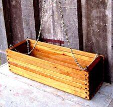 VINTAGE WOODEN SLAT HANGING OR SITTING PLANTER BASKET HOME & GARDEN POT STAND