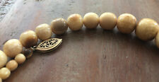 Antique Natural White Butterscotch Egg Yolk Baltic Amber Beads Necklace  55g