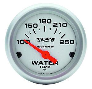 "Auto Meter Ultra-Lite Electric Water Temperature Gauge 2-1/16"" (52mm) 100-250Deg"