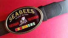 "Vietnam Veteran - SEABEES-"" We Build-We Fight"" Epoxy Belt Buckle& Black Belt NEW"