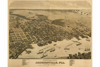 Map of Jacksonville, Florida; 1874; Antique Birdseye Map; Custom Printed