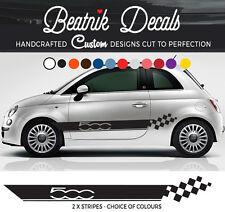 FIAT 500 Decalcomanie SIDE STRIPE ADESIVO ABARTH RACING grafica vinile alta qualità