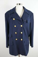 Escada Sport 38 Double Breasted Wool Cashmere Blazer Coat Navy Blue Gold Buttons