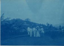 A la campagne Vintage print cyanotype  11x16  Circa 1890