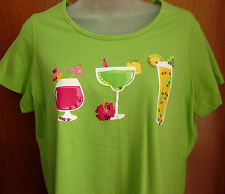 CORAL BAY neon-green party T-shirt cocktails Wine Margarita Highballs tee