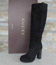 Gucci de lujo botas talla 40 botas zapatos piel vuelta cuero negro nuevo ex. PVP 995 €