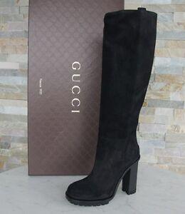 luxus GUCCI Stiefel Gr 40 boots Schuhe Vintage Suede schwarz NEU ehem. UVP 995 €