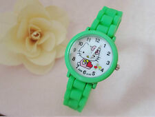 Kids Girls Hello Kitty Green Wrist Watch Analog Silicone Strap Water Proof S