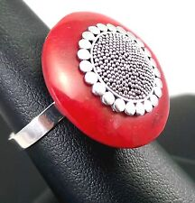 """1.14"""" Natural Red Coral Adjustable Flower Ring Solid 925 Sterling Silver 6.50g"""