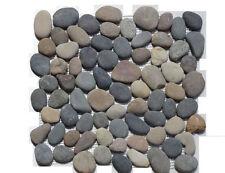 1 Netz Flusskiesel Bunt rund Mosaik Fliesen Naturstein Glas Granit