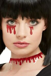 Blood Drip Tattoos Halloween Make Up Special FX Fancy Dress Accessory 3pc