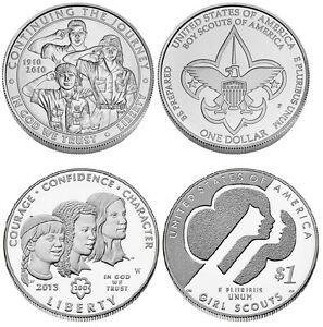 Boy Scout and Girl Scout Uncirculated Commemorative Silver Dollar Coin in OGP
