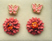 2 Pr Stud Earrings (1 x 10mm Pink / Red Tone Flower 1 x 7mm Pink Butterfly )