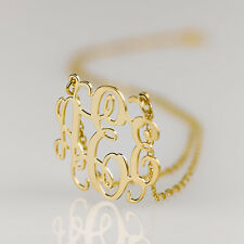 """Monogram Necklace 18k Gold Plated over Sterling Silver Initial Necklace 1.5"""""""