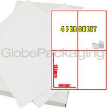 50 Sheets Of Printer Address Labels - 4 Per Sheet Page