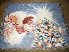 Christmas Angel w/Doves Tapestry Afghan Throw ~ Dona Gelsinger