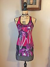 Express Dress Sz Xs Summer Sequins Vacation Floral Mini Racer Back Stretchy Cute