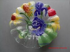 "6 3/4"" WIDE ANNE C ROSS FUSED ART GLASS SIGNED  MULTI COLORED FLOWERS BOWL"