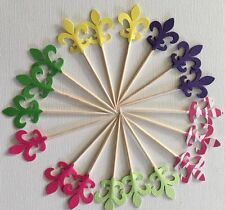 30 Mixed Fleur-de-lis Cupcake toppers Food pick Party Favors