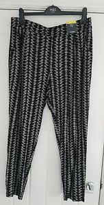 M & S Collection Black Patterned Jersey Tapered Trousers Size 16 BNWT RRP £22.50