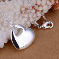 NEW 925 Sterling Silver Filled Womens Solid Heart Pendant Charm Necklace Gift
