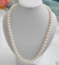 "16"" AAA+ 7-8 mm Real natural Akoya white round pearl necklace 14k Gold"