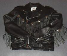 Vintage 70er Jahren Made in USA Biker Harley Chopper Lederjacke mit Fransen