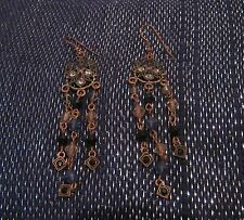Lovely copper tone metal earrings pretty dangle design set with beads and stones