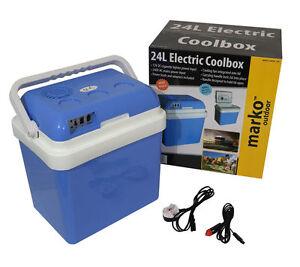 24L PORTABLE COOL BOX ELECTRIC COOLER CAR VAN FRIDGE WITH 12V & 240V ADAPTERS