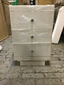 Chelsea White Glass Bedside Table with 3 Drawers RRP £159.00