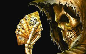"5"" Grim Reaper holding Dead Mans Hand vinyl sticker. Angel of Death poker decal"